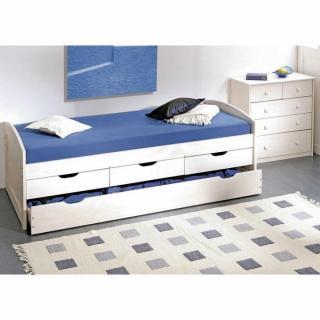 lits chambre literie lit gigogne ulli en pin massif blanc couchage 90 x 190 cm et 3 tiroirs. Black Bedroom Furniture Sets. Home Design Ideas