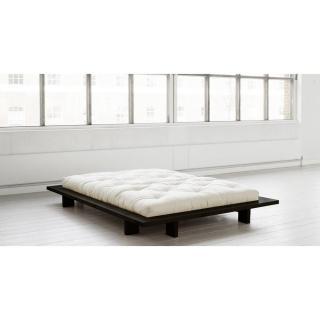 lits chambre literie cadre de lit japonais japan noir 160 200cm avec sommier inside75. Black Bedroom Furniture Sets. Home Design Ideas