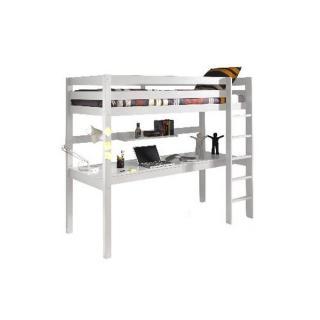 Lit bureau mezzanine PINO en pin vernis blanc