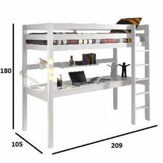 lits chambre literie lit bureau mezzanine pino en pin vernis blanc inside75. Black Bedroom Furniture Sets. Home Design Ideas