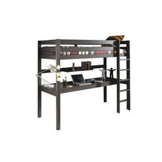 Lit bureau mezzanine PLUTON en pin vernis taupe