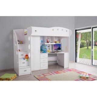 lits chambre literie lit mezzanine combi combin bureau penderie blanche inside75. Black Bedroom Furniture Sets. Home Design Ideas