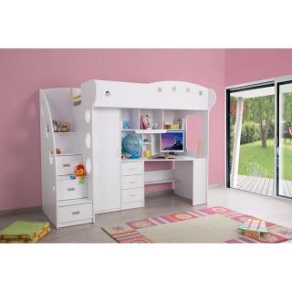 lits mezzanine chambre literie lit mezzanine combi combin bureau penderie blanche inside75. Black Bedroom Furniture Sets. Home Design Ideas