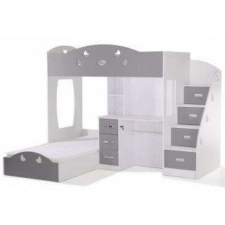 lits mezzanine chambre literie lit mezzanine combi blanc et gris espace bureau int gr. Black Bedroom Furniture Sets. Home Design Ideas