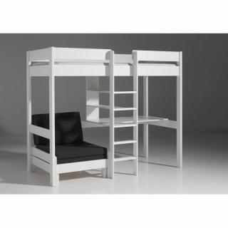 Lit mezzanine avec fauteuil PLUTON en pin vernis blanc
