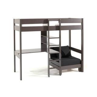 Lit mezzanine avec fauteuil PLUTON en pin vernis taupe
