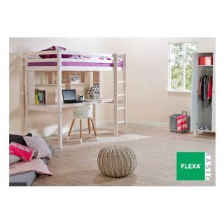 Lit mezzanine FLEXA avec bureau et étagères en pin vernis blanchi couchage 90 x 200