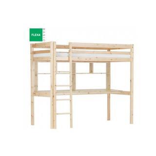 Lit mezzanine FLEXA avec bureau et étagères en pin vernis naturel couchage 90 x 200