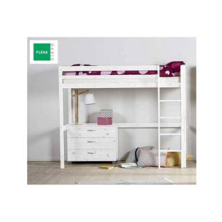 Lit mezzanine FLEXA en pin vernis blanchi couchage 90 x 200