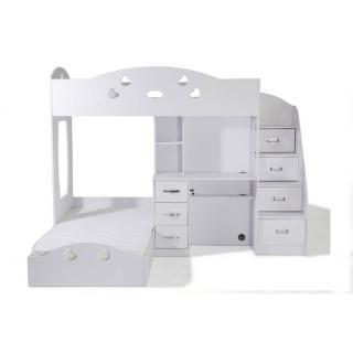 Lit mezzanine MAÏA blanc espace bureau intégré