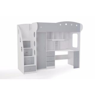 Lit mezzanine MAÏA combiné bureau penderie blanche et grise