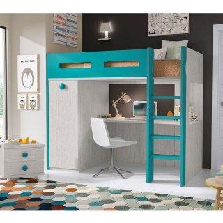 Lit mezzanine bicolore MOON couchage 90 x 190 cm échelle droite