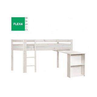 Lit mi haut FLEXA avec bureau en pin vernis blanchi couchage 90 x 200