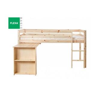 Lit mi haut FLEXA avec bureau en pin vernis naturel couchage 90 x 200