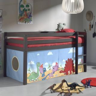 lits chambre literie lit mi haut pluton taupe avec tente de lit dinosaure inside75. Black Bedroom Furniture Sets. Home Design Ideas