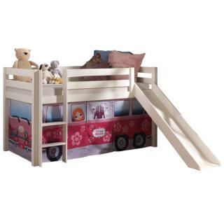 Lit mi haut avec toboggan PLUTON blanc avec tente de lit princesse