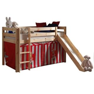 Lit mi haut avec toboggan PLUTON en pin naturel avec tente de lit cirque
