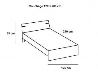 Lit LISBURN style industriel 120 x 200 cm chêne poutre