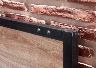 Lit PORTLAND style industriel 160 x 200 cm chêne poutre / métal