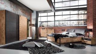 Lit PORTLAND style industriel 160 x 200 cm chêne poutre / tête synthétique vieilli