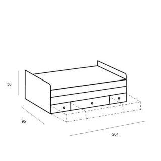 Lit multi-fonction DORY 90 x 200 cm 2 tiroirs chêne rechampis blanc chevet intégré