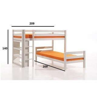 lits chambre literie lit superpos angle pluton en pin. Black Bedroom Furniture Sets. Home Design Ideas