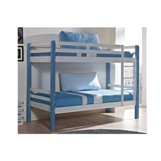 Lit superposé COMETE en pin massif blanc et bleu, couchage 190 x 90