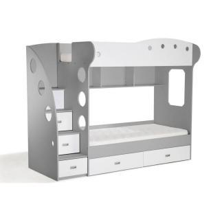 Lit mezzanine superposé MAÏA blanc et gris