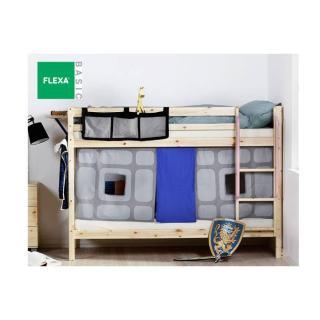 Lit superposé FLEXA en pin vernis naturel avec textile de lit couchage 90 x 200