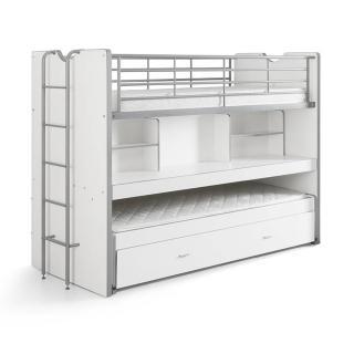 Lit superposé KYLE blanc avec bureau et tiroir lit