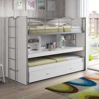 lits chambre literie lit superpos kyle blanc avec bureau et tiroir lit inside75. Black Bedroom Furniture Sets. Home Design Ideas