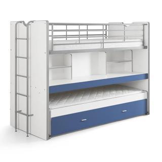 Lit superposé KYLE blanc/bleu avec bureau et tiroir lit