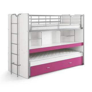 Lit superposé KYLE blanc/fuchsia avec bureau et tiroir lit