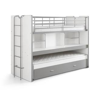 Lit superposé KYLE blanc/gris avec bureau et tiroir lit