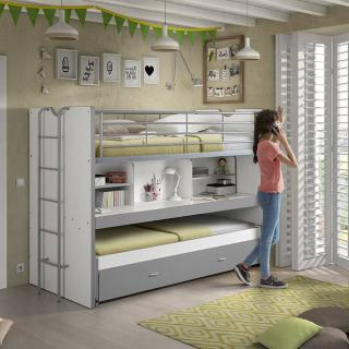 lits chambre literie lit superpos kyle blanc gris. Black Bedroom Furniture Sets. Home Design Ideas