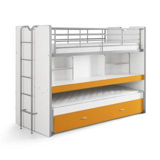 Lit superposé KYLE blanc/orange avec bureau et tiroir lit