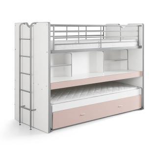 Lit superposé KYLE blanc/rose clair avec bureau et tiroir lit