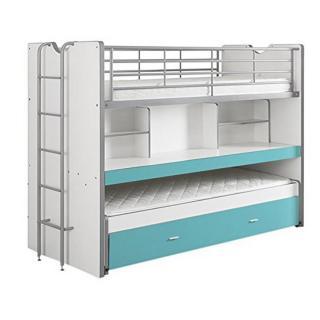 Lit superposé KYLE blanc/bleu turqoise avec bureau et tiroir lit