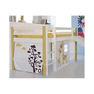 Lit surélevé COMETE en pin massif blanc et jaune avec toboggan couchage 190 x 90