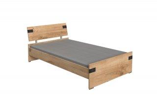 Lit tiroirs LISBURN style industriel 120 x 200 cm chêne poutre