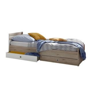 Lit à tiroirs VOLVERINE 120*200cm chêne/blanc