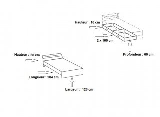 Lit à tiroirs VOLVERINE 120 X 200 cm chêne rechampis blanc