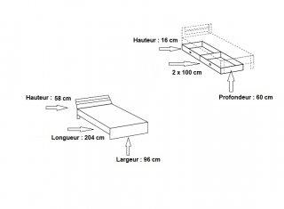Lit à tiroirs VOLVERINE 90 x 200 cm chêne rechampis blanc