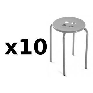 Lot de 10 tabourets OMIS métal gris