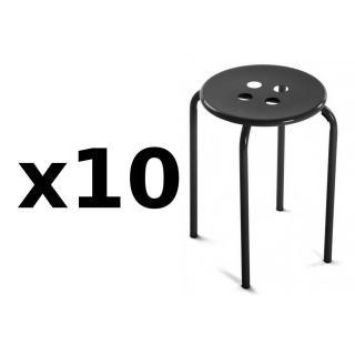 Lot de 10 tabourets OMIS métal noir
