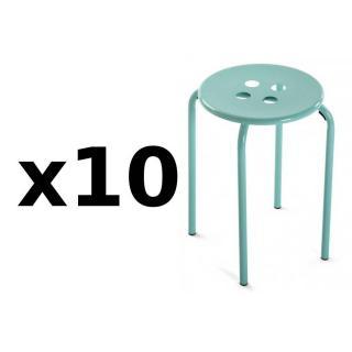 Lot de 10 tabourets OMIS métal vert