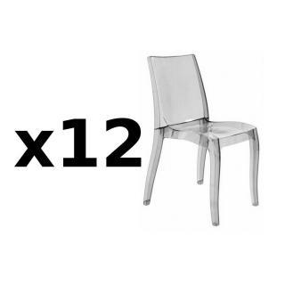 Lot de 12 chaises CRISTAL LIGHT design fumée
