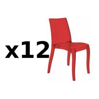Lot de 12 chaises CRISTAL LIGHT design rouge
