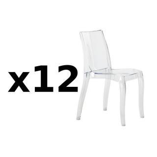 Lot de 12 chaises CRISTAL LIGHT design