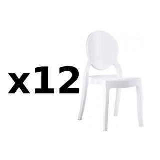 Lot de 12 chaises médaillon IMPÉRATRICE style Louis XVI en polycarbonate blanc opaque